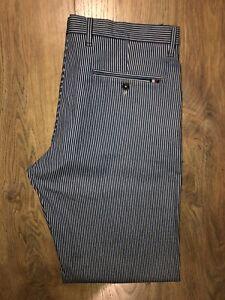 Tommy Hilfiger Mens Fashion Wide Fit Blue Stripe Chino Trousers W34 L32 BNWT£110