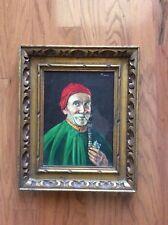 Antique Vtg French Oil Painting Portrait Of Monk Caspar Casper Mine Framed Art