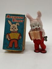 VTG Fuji Press Toys Japan Mechanical Accordion Bunny Wind Up Tin Toy with Box