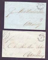 2 Vorphilabriefe Bremen 1844/1845 mit Stempel Stadtpostamt nach Oldenburg (108)