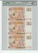 1996 SINGAPORE 25 DOLLARS COMMEMORATIVE UNCUT SHEET OF 3 PMG 67 EPQ S.GEM UNC