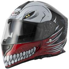 VCAN V127 DVS Full Face Scooter Motorbike Motorcycle Helmet Crash Black/white S