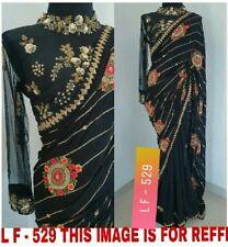 Saree Black Colour Indian Bollywood Designer Georgette Embroidery Sari Blouse