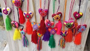 Lot of 12 Assorted colorful tassel pompom hearts, Mexican Deco, Christmas Tree.