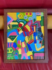 """Louise Abrams  Older Surreal Oil Painting From Her Estate FRAMED 18"""" X 22"""""""