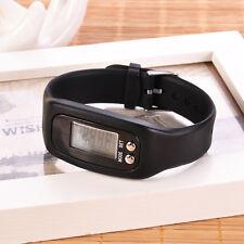 Black Walking Run Step Watch Wristband Pedometer Calorie Counter Bracelets