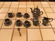 vintage miniature metal pewter toy tea set