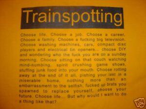 CHOOSE LIFE TRAINSPOTTING T-SHIRT SIZE SMALL