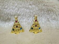 Vintage Christmas Tree Earrings Clip Fashion Costume 1992 Jewelry Holiday Avon