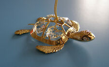 "made with SWAROVSKI CRYSTAL ELEMENTS ""SEA TURTLE"" FIGURINE 24KT GOLD PLATED"
