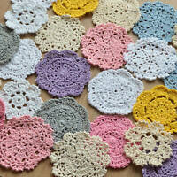 24 Assorted Hand Crochet Small Doilies Lot Snowflakes Petals for DIY crafts
