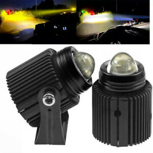 2Pcs Dual Color Car Driving Fog LED Spotlights High Low Beam Auxiliary Lamp 60W