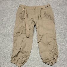 INC Casual Cargo Capris Pants Womens 4 Brown With Floral Embroiderer Belt Tie