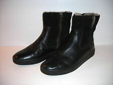 FRYE women's black LEATHER & SUEDE ANKLE BOOTS faux fur lined SIZE 7 MEDIUM