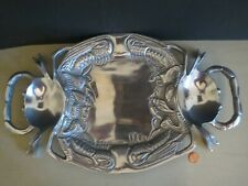 Seafood Crab Serving Tray Platter Dish Footed 2 Condiment Wells Cast Aluminum