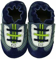 NIB ROBEEZ Shoes Braedon Navy Blue Lime Green 0-6m 1 2