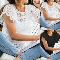 UK Women Lace Crochet Short Sleeve Casual Loose Beach Top Shirt Blouse Size 8-26