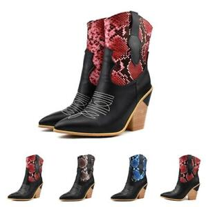 Womens Rock Cowboy Leather Chunky Heel Casual Pointy Toe Shoes Prom Ankle Boots
