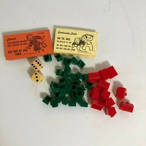 Vintage Monopoly Game 1961 Comm Chest Replacement Chance Cards Houses Hotels