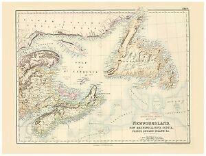 Old Vintage Decorative Map of Newfoundland Fullarton 1872