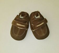 Boys ROBEEZ brown suede leather boutique shoes 3 6 months 1 2 baby crib loafers