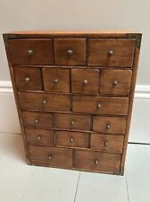 Vintage Multi Assorted Size Spice Chest Of  Drawers Campaign Furniture Corners