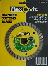 "Diamond Wheel Turbo Rim 4"" 105mm 20/16mm Bore Flexovit Tile Cutting Blade"