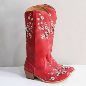 Women's Embroidered Floral Pattern Cowboy Boots Pointed Toe Shoes Mid-Top Boots