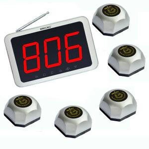 SINGCALL Wireless Buzzer System 5 Table Bells 1 Receiver