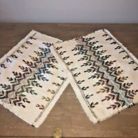 Vintage Mid Century Placemats Set of 2 Aztec Crewel Embroidered on Ivory Fringed