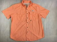 Gander Mountain Guide Series Short Sleeve Orange Gingham Vented Shirt - Men's L