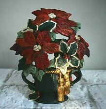 Cast Iron Poinsettia Door Stop Painted by Midwest Importers Vintage Christmas