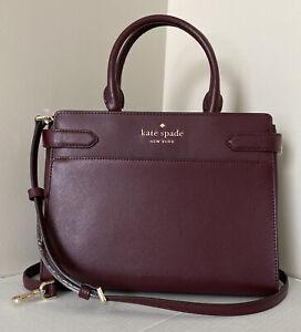 New Kate Spade New York Staci Medium Satchel Leather Cherrywood