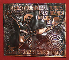 Vintage Poland Small Football Soccer Copper Plaque