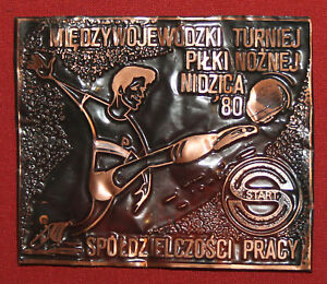 Vintage Poland Small Football Soccer Copper Plaque