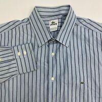Lacoste Button Up Dress Shirt Men's 45 Long Sleeve Blue Navy Striped 100% Cotton