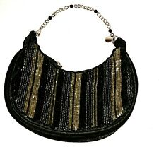Liz Clairborne Womens Embellished beaded Black Chain Evening purse bag mini