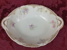 Theodore Haviland Limoges Lacy Gold Filigree Trim Pink Purple Floral Oval Bowl