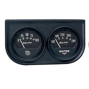 Auto Meter Gauge Set 2345; Auto Gage Water Temp, Oil Pressure Black