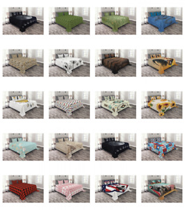 Quilted Bedspread Set with Shams Printed Coverlet by Ambesonne