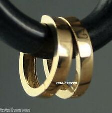 "NEW Italian Solid 14K Yellow Gold Huggies Hoop Earrings 1/2"" = 13mm Square Tube"