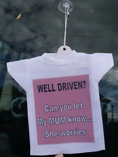 New Driver on board car hanging t-shirt sign FREE PERSONALISATION