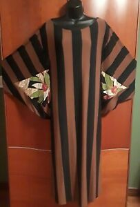NWT SAVE THE QUEEN Striped Midi in Brown Black Floral Batwing Sleeve Dress M