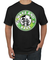 Wake And Bake Coffee Logo Parody Weed Men's Graphic T-Shirt