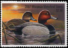 WISCONSIN #30 2007 STATE DUCK STAMP REDHEAD by Arthur Anderson