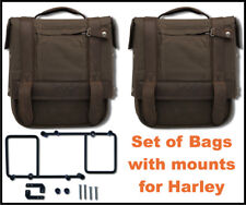 New Burly Waxed Canvas Saddlebags with Mounts for Harley 2002-2017 Dyna FX