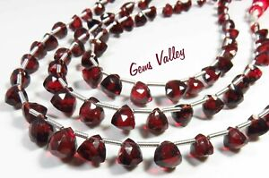 Natural Mozambique Garnet Gemstone Trillion Briolette Shape Faceted Beads GV-913