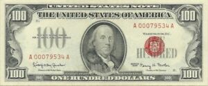 1966 $100 RED SEAL LEGAL TENDER NOTE ~ CHOICE CRISP UNCIRCULATED SUPER CENTERING