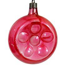 Vintage Shiny Brite Premier Glass Works Cap Flower Indent Christmas Ornament Usa