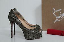 sz 8.5 / 39 Christian Louboutin Fetish Peep Silver Glitter Platform Pump Shoes